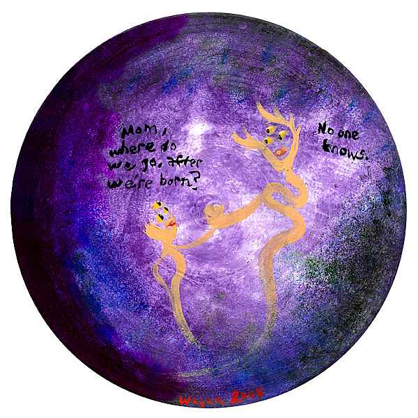 A round, purple/indigo void with a small three-eyed spirit asking its larger, three-eyed mom, 'Where do we go, after we're born?' Mom says 'No one knows.'