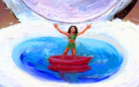 A Lilliputian girl in a red boat floats in a blue toilet bowl.