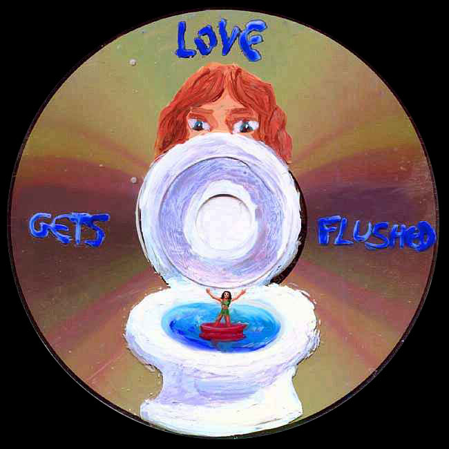 A Lilliputian girl in a red boat floats in a toilet bowl. A full-sized man glares at her. Blue words announce: 'LOVE GETS FLUSHED'.