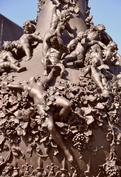 Nude drunk orgy on ten-foot bronze urn by Gustave Dore. Click for second closeup