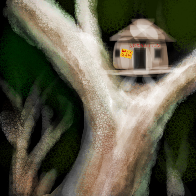 Tree of Time with a kids' treehouse saying SCIENCE CLUB and NO GIRLS. Dream sketch by Wayan