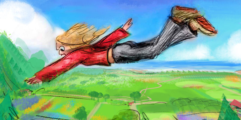 Flying over the fields of Kauai. Dream sketch by Wayan.