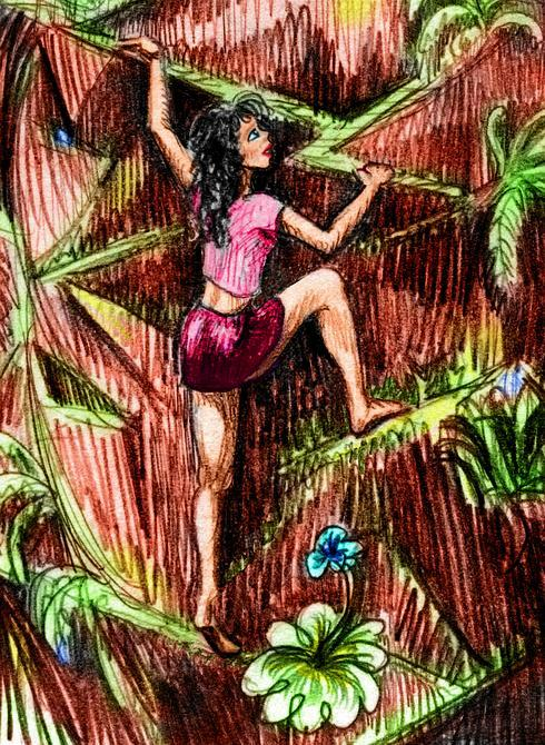 A girl climbing a cliff barefoot and ropeless. Dream sketch by Wayan.