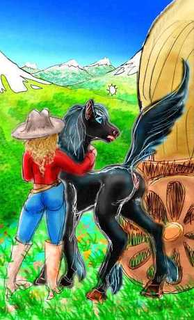 A black mare and a cowgirl spot something across a valley