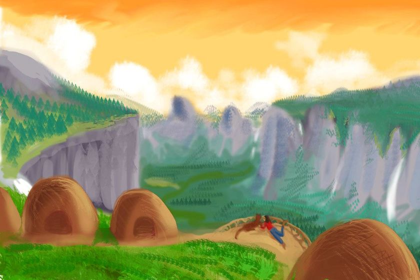 Horsetail, an animal village atop the northern cliffs of Yosemite. Dream sketch by Wayan