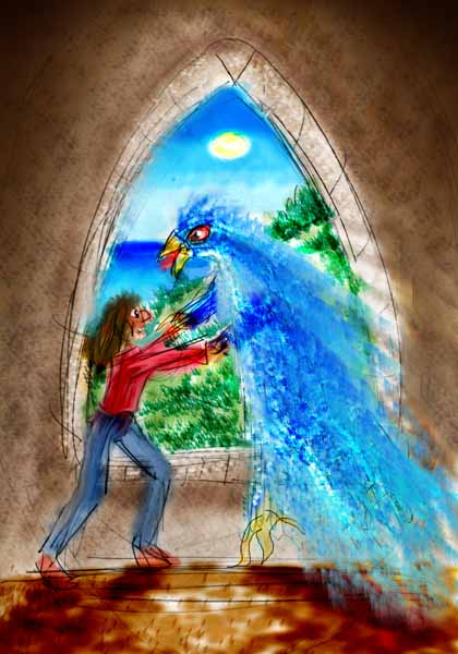 I dream a huge blue bird-wizard called a Blammor attacks me in the Castle of the Kidnapped Children.