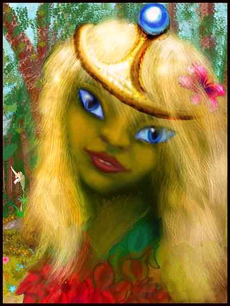 Portrait of Dahaun, the Green Girl of Hollywood.