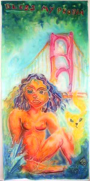 Eve and her golden cat, with Golden Gate Bridge looming behind