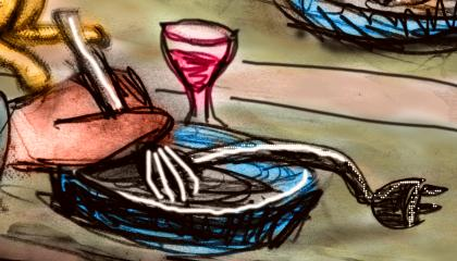 Sketch of a dream: a glass of wine by a plate of boiled electrical cord. Yum!