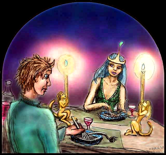 I dream I'm on a date with a Queen of Faerie, but she serves me boiled electrical cord.