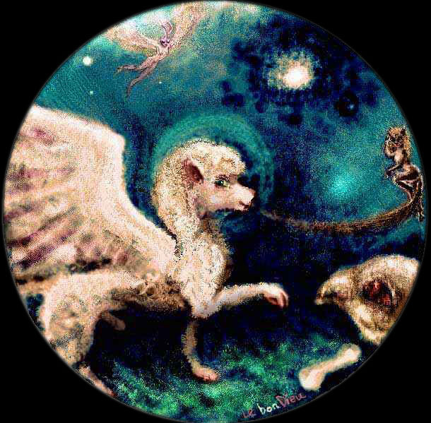 A round dark space. A horny Poodle Angel, sniffing at Le Bone Dieu, is distracted by Dancing Pussy. Moth Girl hovers, watching, far above.