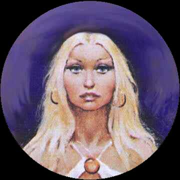 My blonde neighbor with a low forehead, who wants my spiderwebs in a dream. Picture based on a book cover by Don Maitz