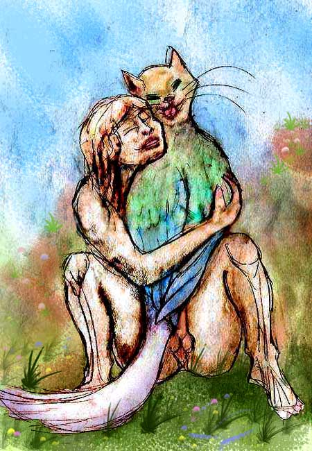 Daydream image; I fondle a bird-cat-creature in my lap who licks my cheek.