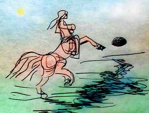 Centaur rears up to kick a high soccer ball