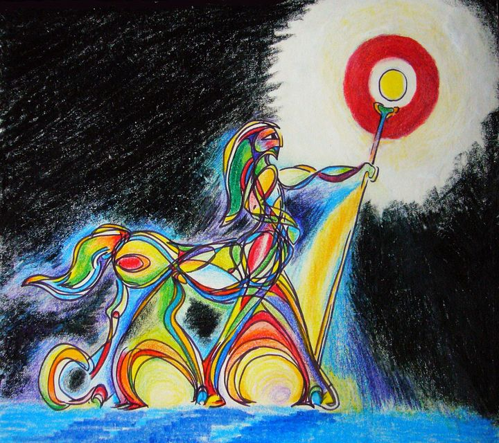 In a field, a male centaur in profile raises a staff capped by a globe of gold light. Ink & crayon by Wayan. Click to enlarge.