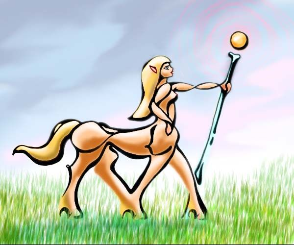 in a meadow, a centaur woman, profile raises a staff capped by a globe of gold light