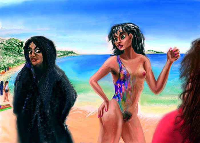 A girl at the beach gets round her fundamentalist aunt to flirt with me, by wearing a magic swimsuit that fades away when and where she wants.