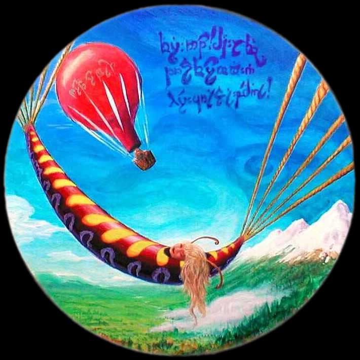 ballooning over ancient Middle Earth with a girl in a cocoon, metamorphosizing.
