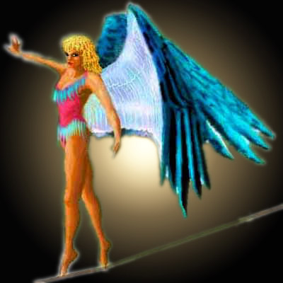Dream: a high-wire artist returns from the Western Paradise as a circus angel.