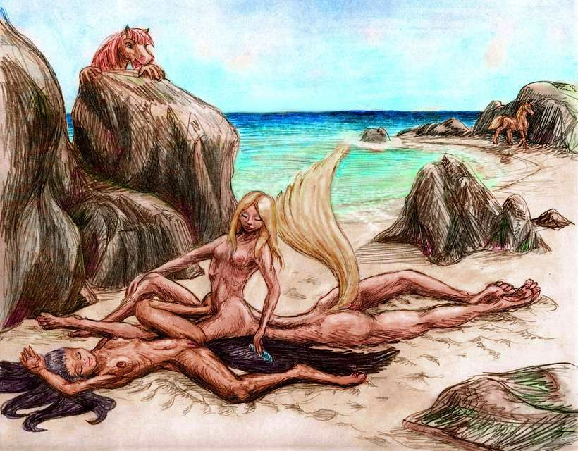 In a sunny cove, a blonde human-legged centaur, combs the tail of her stepsister, a biped brunette.