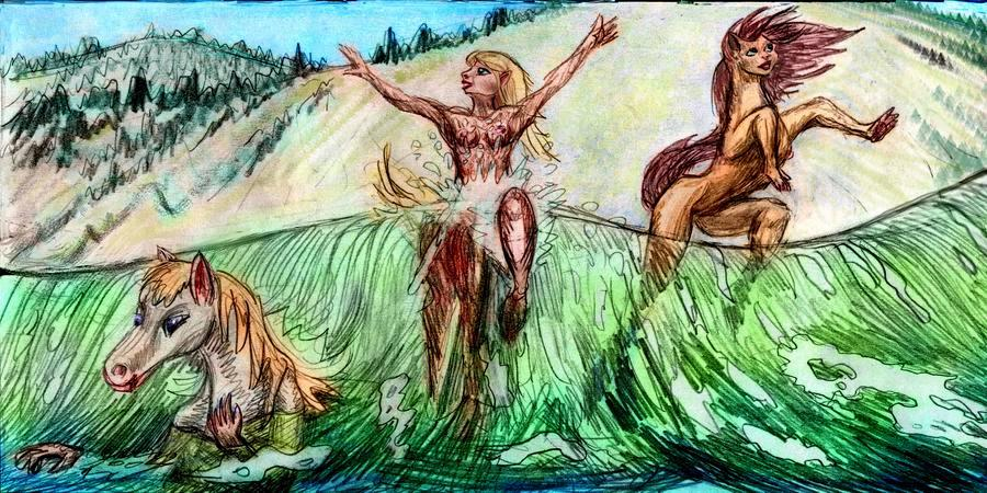 In the surf, looking landward, toward a high wooded ridge. Foreground: three centauroids frolic in a green wave.