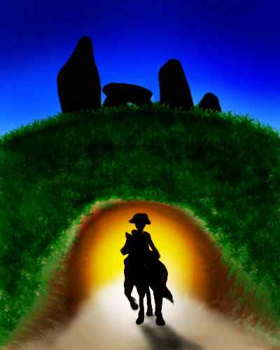At dusk, a silhouetted horseman enters a glowing cave below a ring of standing stones.