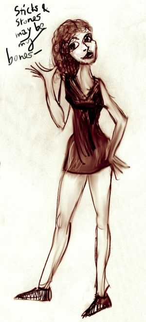 sepia sketch--bony girl in little black dress