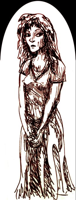 sepia sketch of skinny girl--me