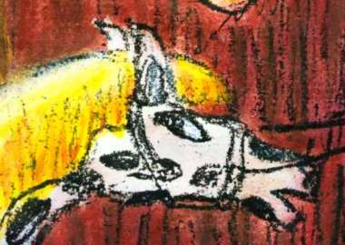 Sketch of a dream by Wayan: head of a polka-dot mare (like a giant Dalmatian)