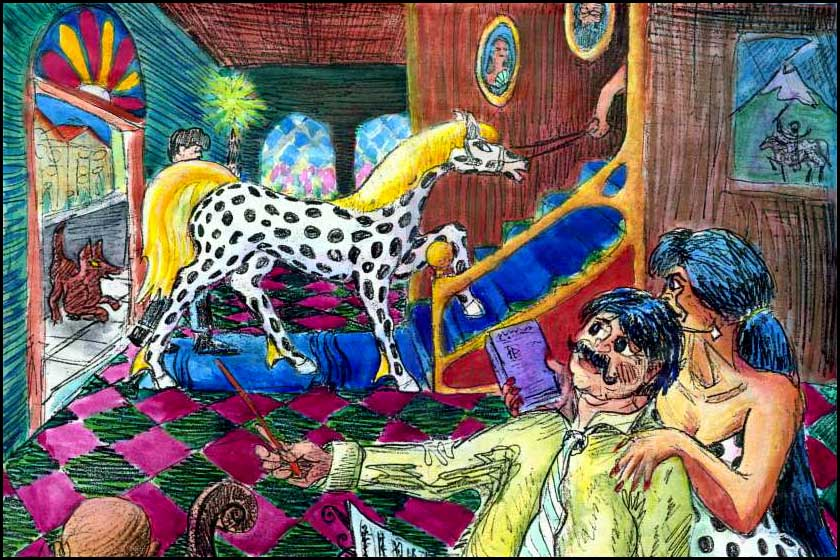 a dog, an orchestra conductor and a woman in a polka-dot dress gawk at a polka-dotted mare (like a giant Dalmatian) walking through a Paraguayan hotel lobby and up the stairs. Sketch of a dream by Wayan.
