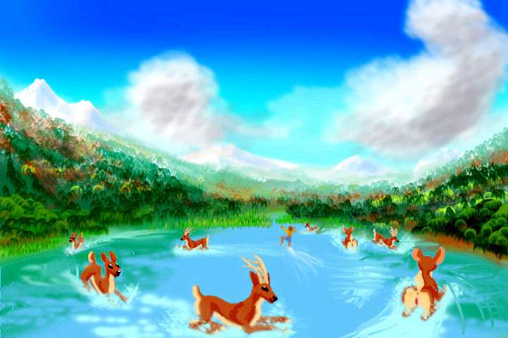 I dream of a lake where shamanic deer waterski... without speedboats.