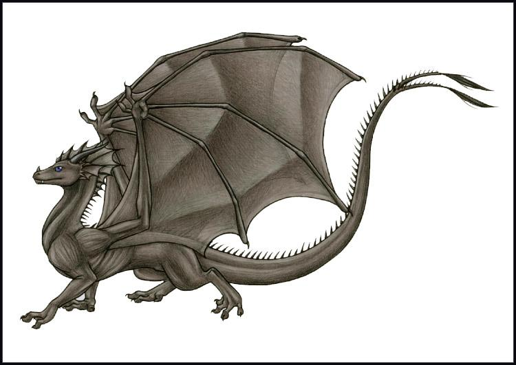 I dreamed I was a lean, blue-eyed, winged dragon, gunmetal color, with a forked tail. Portrait of me in profile, by my girlfriend Katie Hofgard.