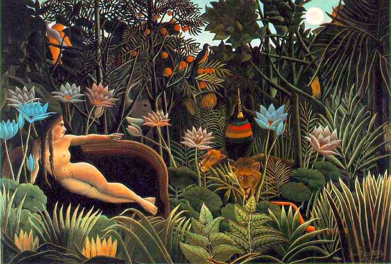A woman on a red sofa dreams she's in a jungle being serenaded by an enchanter.