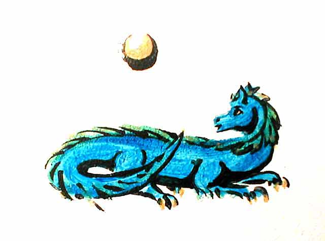 Blue female dragon who guards my dreams