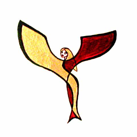 A stylized angel with a mermaid tail, in red gold and black.