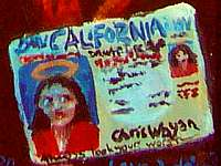 Painted image of a California driver's license with a note under the photo: 'Always look your worst.'