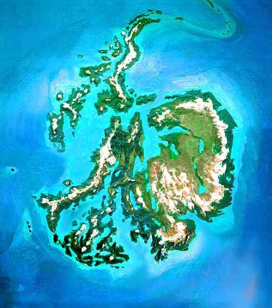 Orbital photo of Dubia, a possible future Earth. Antarctica's nearly ice-free--a prairie edged by forested ranges and a maze of Alaskan fjords