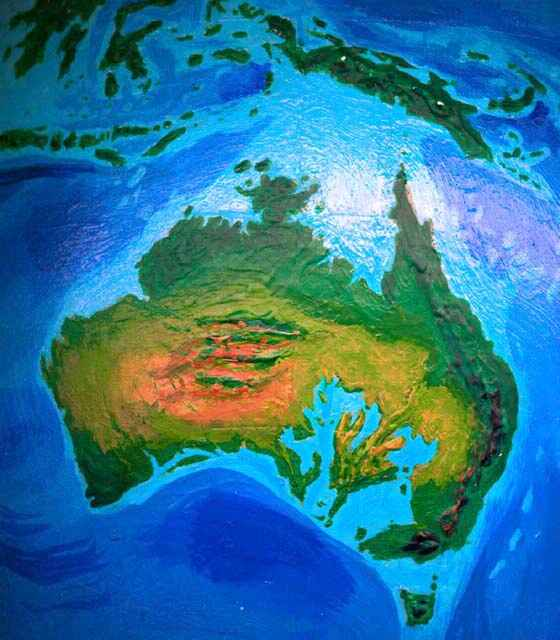 Orbital photo of Dubia, a possible future Earth. Australia's new inland seas, and New Guinea's lost lowlands.