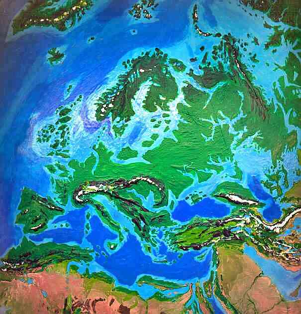 Orbital photo of Dubia, a possible future Earth. Flooding cuts off Asia, Africa, Iberia, and Scandinavia from Europe.