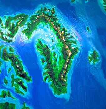 Orbital photo of Dubia, a possible future Earth. Greenland really is green now. It's a jagged arc of mountains cupping a shallow sea.