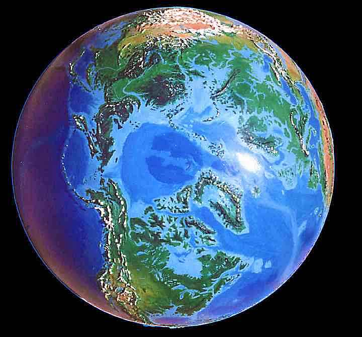 North polar view of Dubia, a possible future Earth. A forest-rimmed, iceless Arctic Sea.