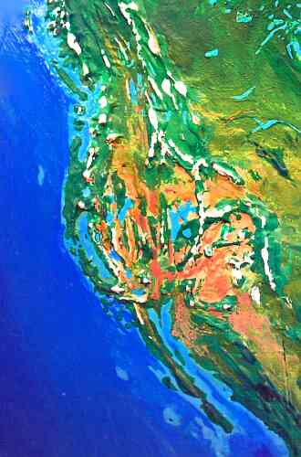 Orbital photo of Dubia, a possible future Earth. America's west coast is broken up by inland seas.