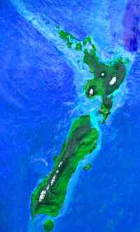 Orbital photo of Dubia, a possible future Earth. New Zealand: South Island's intact, but the Auckland region of North Island's flooded.