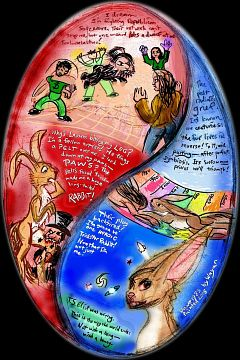 Paint-sketch of a dream by Chris Wayan: an oval, vertically stretched yin-yang symbol in red and blue: the Republicans and Democrats. Figures inside include Toulouse-Lautrec, some financial wizards and a giant futuristic bunny.