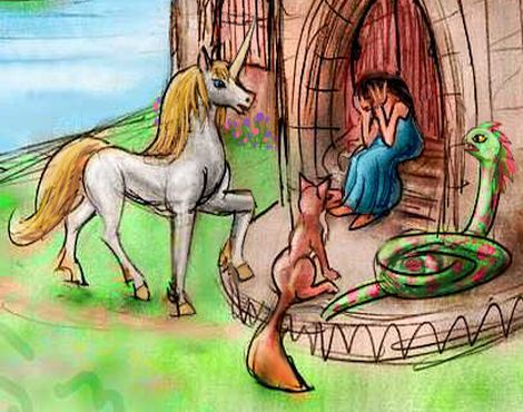 A unicorn, a green snake, a fox and crying girl, huddled on a stone doorstep. Sketch of a dream by Wayan.