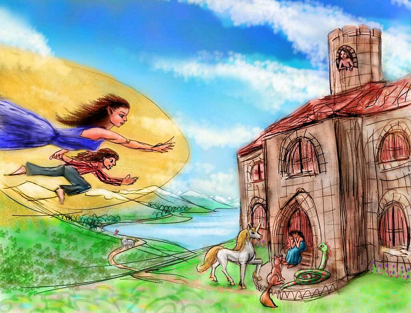 Elbereth flies over Middle Earth, landing at the castle of a reclusive wizard. Dream sketch by Wayan. Click to enlarge.