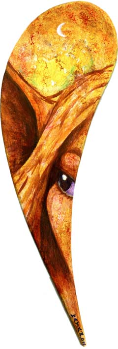 Painting: extreme close-up of an elf peering out at us from a strange teardrop-shaped picture-space. Click to enlarge.