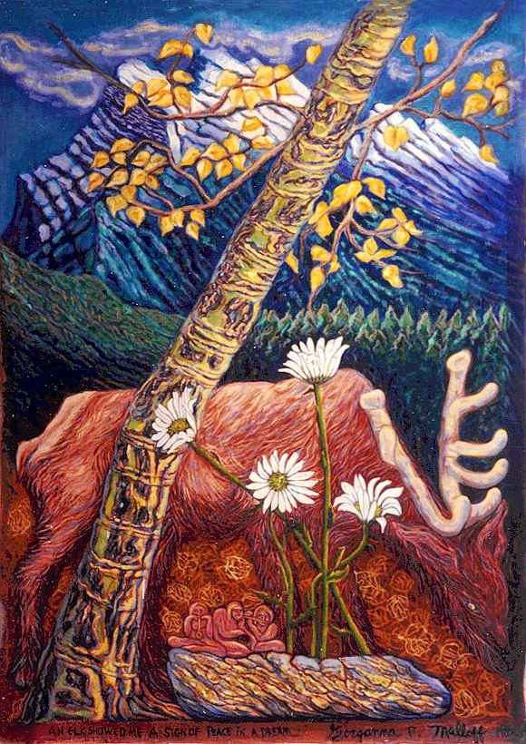 An elk looming over tiny people playing music. A tree with golden leaves and bark leans overhead; snowy crags on horizon.