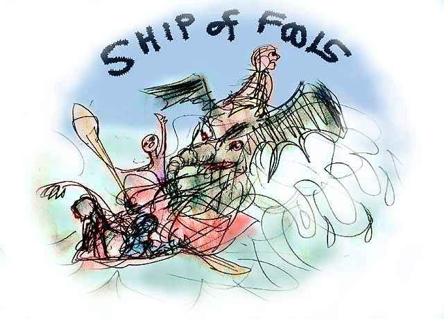 Dream: though the rest of us are rescued, our friend the elephant goes down with the Ship of Fools.