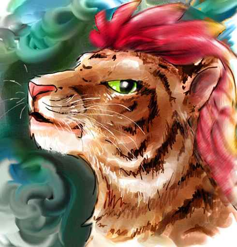 Dream: In Familiar Wood, I meet a red-crested tiger person.